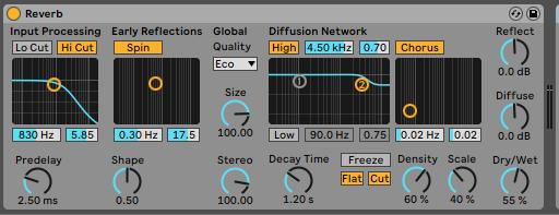Reverb Ableton Live - Home Studio. Efectos de audio y guía práctica de uso
